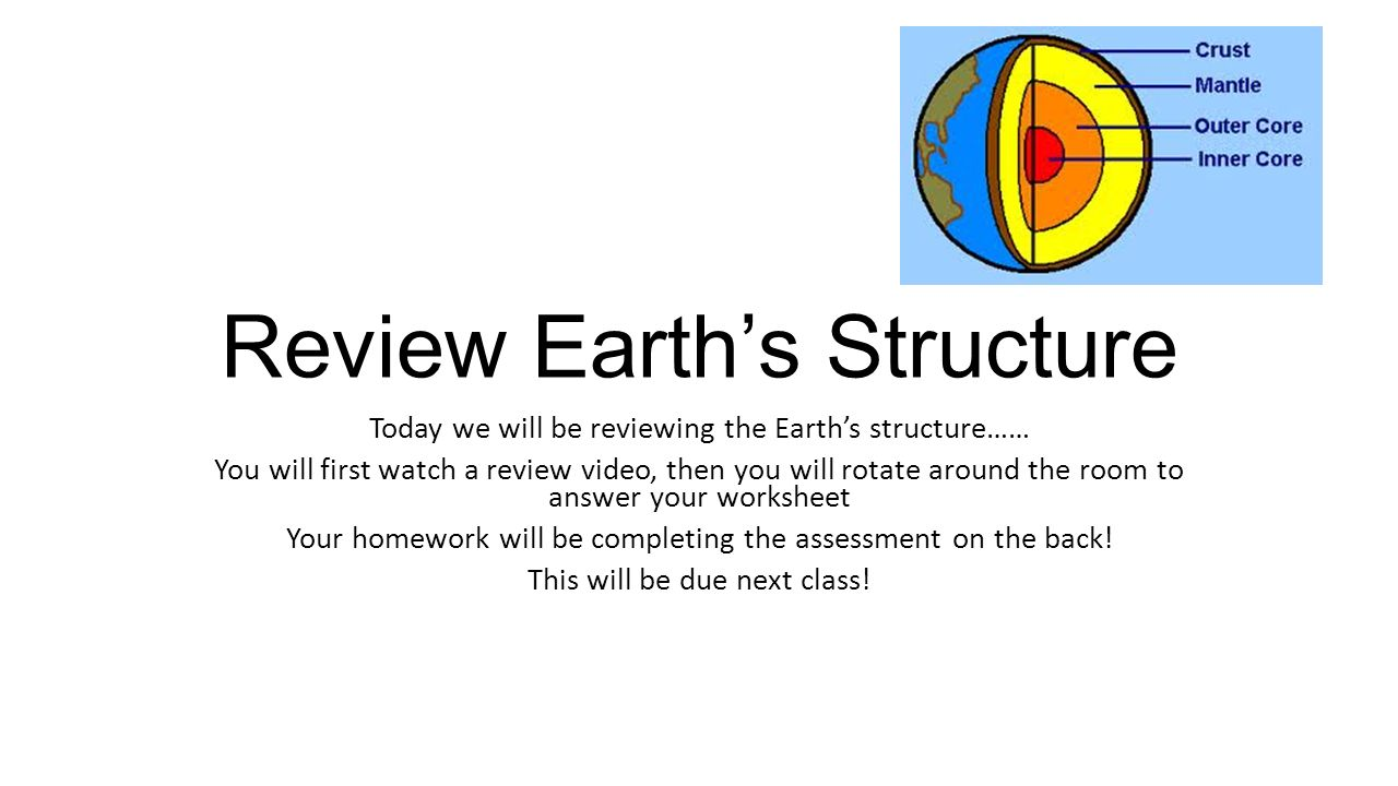 Review Earths Structure Today we will be reviewing the Earths – Earth Structure Worksheet