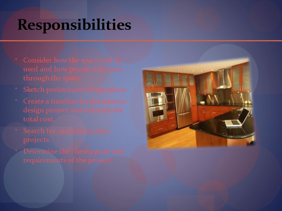 Responsibilities * Consider How The Space Will Be Used And How People Will  Move Through The. 4 Interior Designers ...