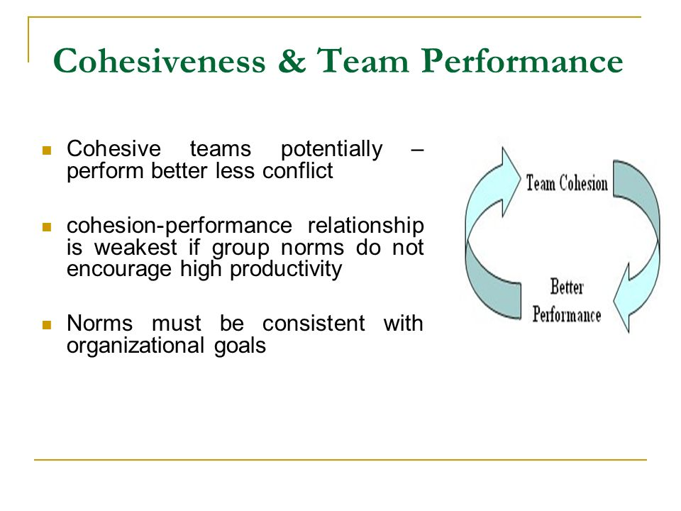 Guidelines for Establishing Team Cohesion Leader strategies Communicate effectively Explain individual roles in team success Develop pride within subunits Set challenging team goals Avoid formation of social groups Conduct periodic team meetings Get to know others; enhance personal disclosure