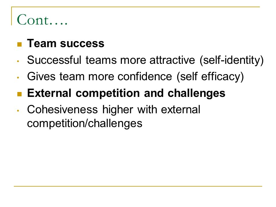 Key Leadership Factors Leadership style is vital to team cohesion Clear communication Team goals Team members' roles Enhancing feelings of cohesion Compatibility between coach and athletes