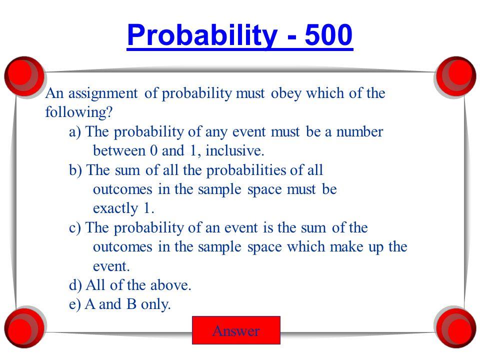 Probability Dist n Into to Statistics Jeopardy Probability Credits ...