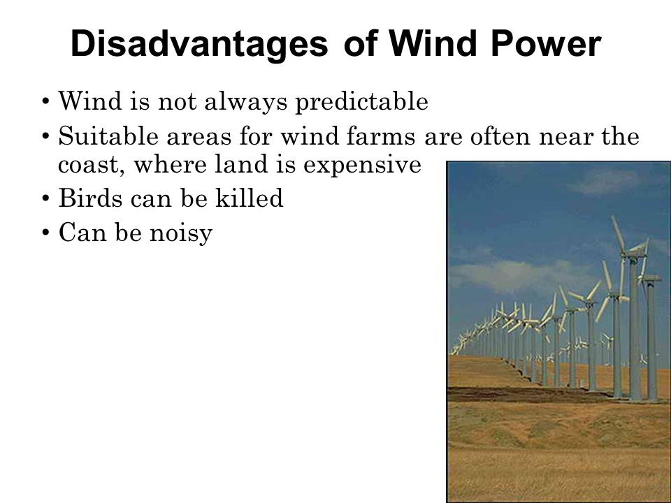 Disadvantages of Wind Power Wind is not always predictable Suitable areas for wind farms are often near the coast, where land is expensive Birds can be killed Can be noisy