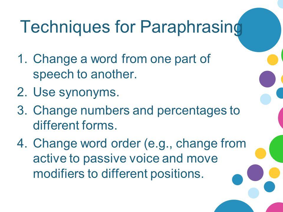 Paraphrasing steps