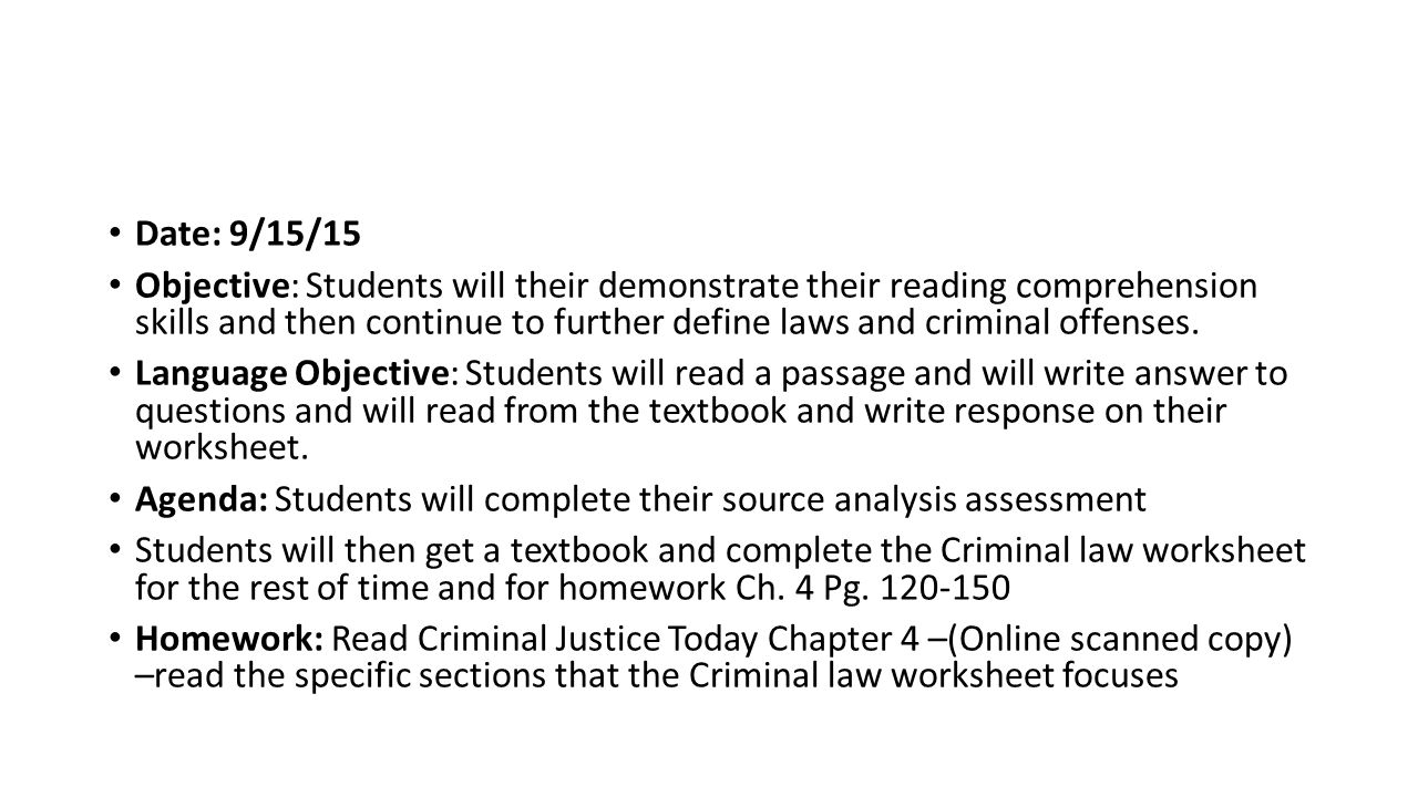 Worksheets Criminal Law Worksheets criminal justice date 10515 objective students will begin to 23 date