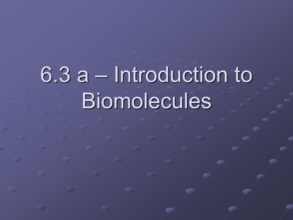 6.3 a – Introduction to Biomolecules