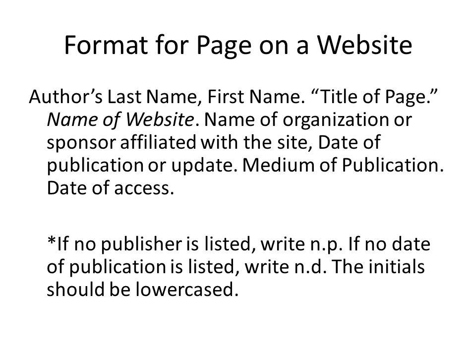 mla format website