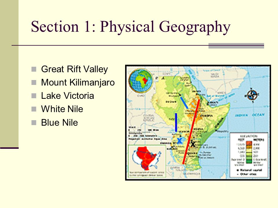 7th grade social studies ppt video online download 4 section 1 physical geography great rift valley mount kilimanjaro lake victoria white nile blue nile x x sciox Gallery