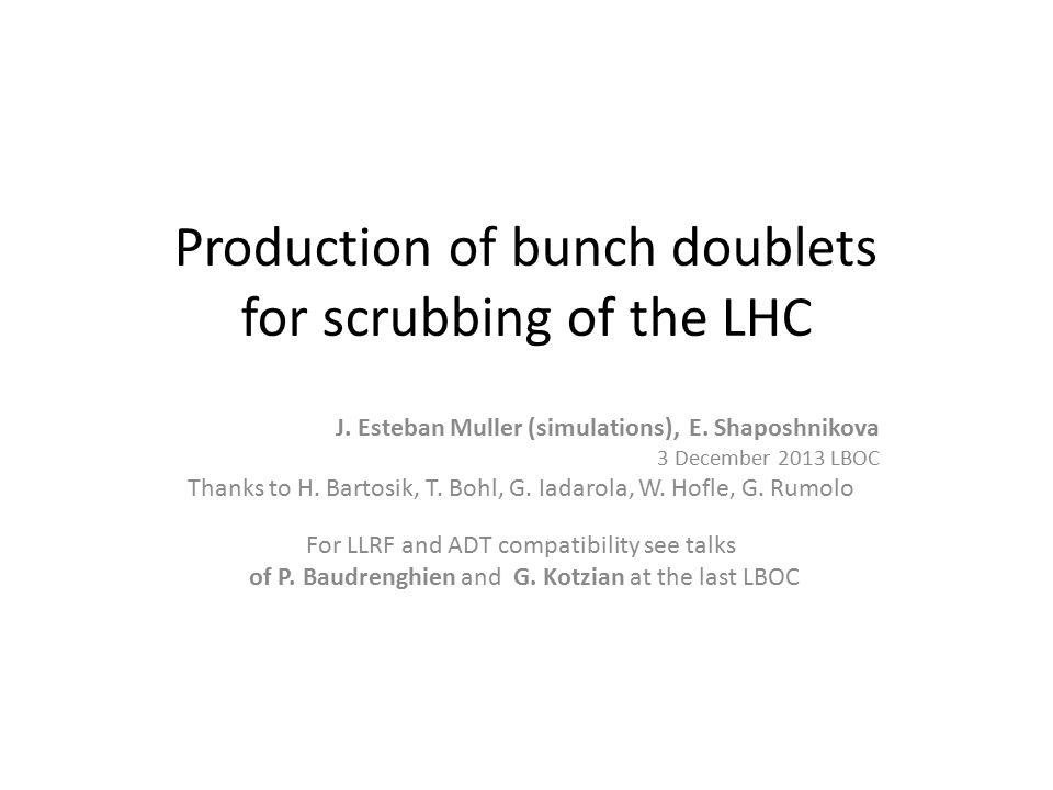Production of bunch doublets for scrubbing of the LHC J.