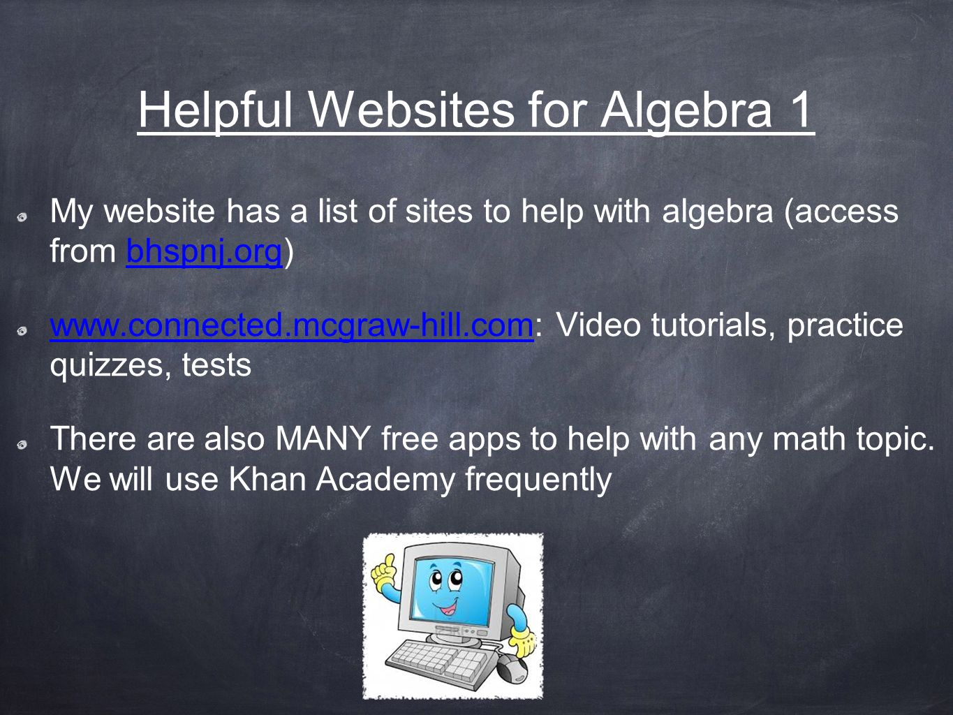 math help websites Free algebra lessons, games, videos, books, and online tutoring we can help you with middle school, high school, or even college algebra, and we have math lessons in many other subjects too.