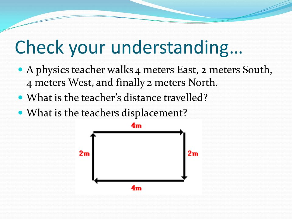 Check your understanding… A physics teacher walks 4 meters East, 2 meters South, 4 meters West, and finally 2 meters North.