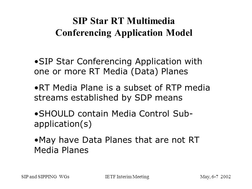 SIP and SIPPING WGsMay, IETF Interim Meeting SIP Star RT Multimedia Conferencing Application Model SIP Star Conferencing Application with one or more RT Media (Data) Planes RT Media Plane is a subset of RTP media streams established by SDP means SHOULD contain Media Control Sub- application(s) May have Data Planes that are not RT Media Planes
