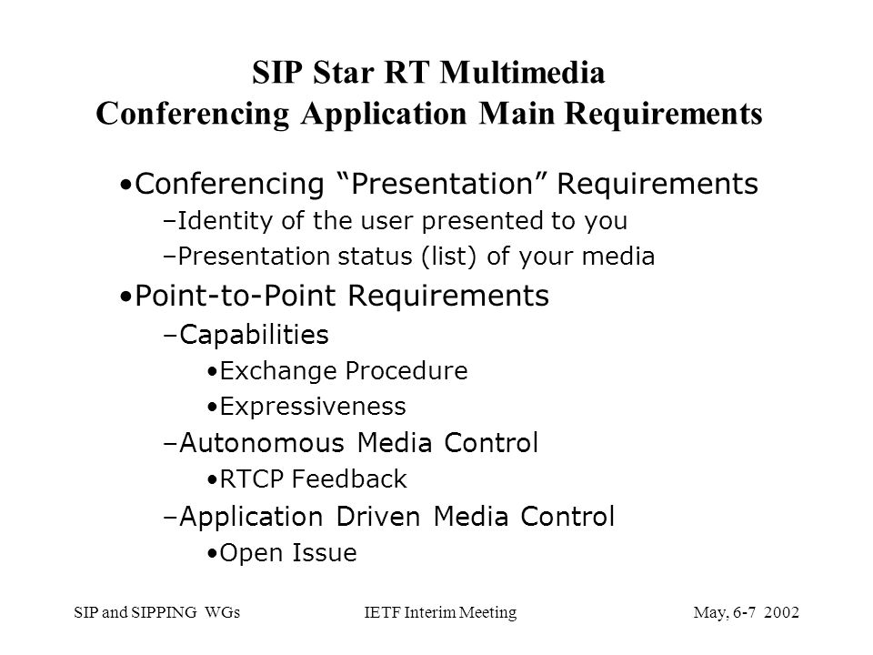 SIP and SIPPING WGsMay, IETF Interim Meeting SIP Star RT Multimedia Conferencing Application Main Requirements Conferencing Presentation Requirements –Identity of the user presented to you –Presentation status (list) of your media Point-to-Point Requirements –Capabilities Exchange Procedure Expressiveness –Autonomous Media Control RTCP Feedback –Application Driven Media Control Open Issue