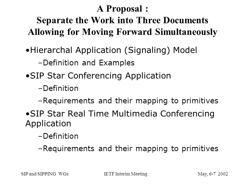 SIP and SIPPING WGsMay, IETF Interim Meeting A Proposal : Separate the Work into Three Documents Allowing for Moving Forward Simultaneously Hierarchal Application (Signaling) Model –Definition and Examples SIP Star Conferencing Application –Definition –Requirements and their mapping to primitives SIP Star Real Time Multimedia Conferencing Application –Definition –Requirements and their mapping to primitives