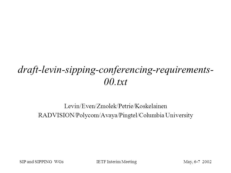 SIP and SIPPING WGsMay, IETF Interim Meeting draft-levin-sipping-conferencing-requirements- 00.txt Levin/Even/Zmolek/Petrie/Koskelainen RADVISION/Polycom/Avaya/Pingtel/Columbia University