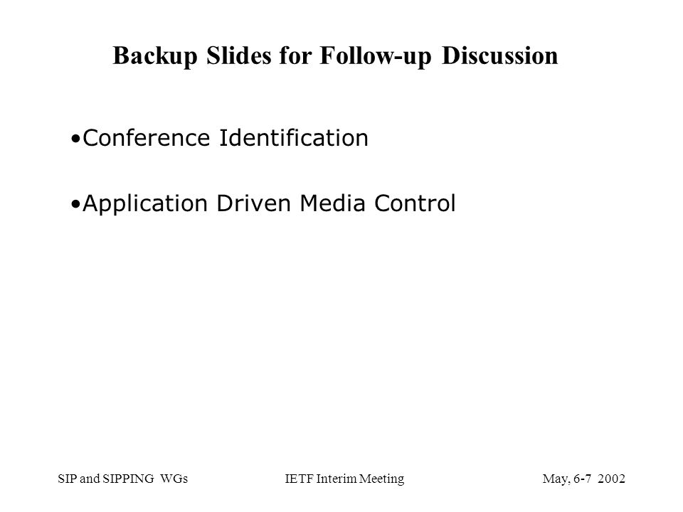 SIP and SIPPING WGsMay, IETF Interim Meeting Backup Slides for Follow-up Discussion Conference Identification Application Driven Media Control