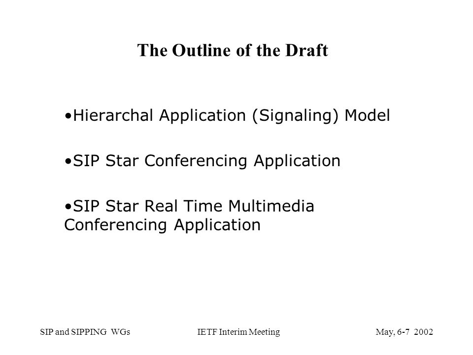 SIP and SIPPING WGsMay, IETF Interim Meeting The Outline of the Draft Hierarchal Application (Signaling) Model SIP Star Conferencing Application SIP Star Real Time Multimedia Conferencing Application