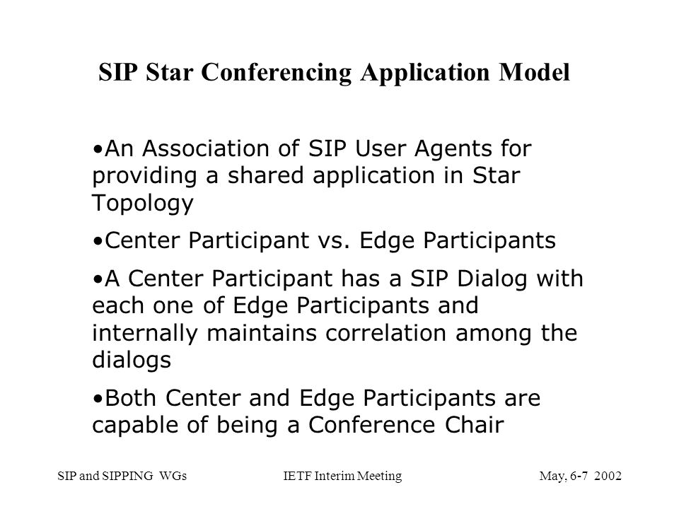 SIP and SIPPING WGsMay, IETF Interim Meeting SIP Star Conferencing Application Model An Association of SIP User Agents for providing a shared application in Star Topology Center Participant vs.