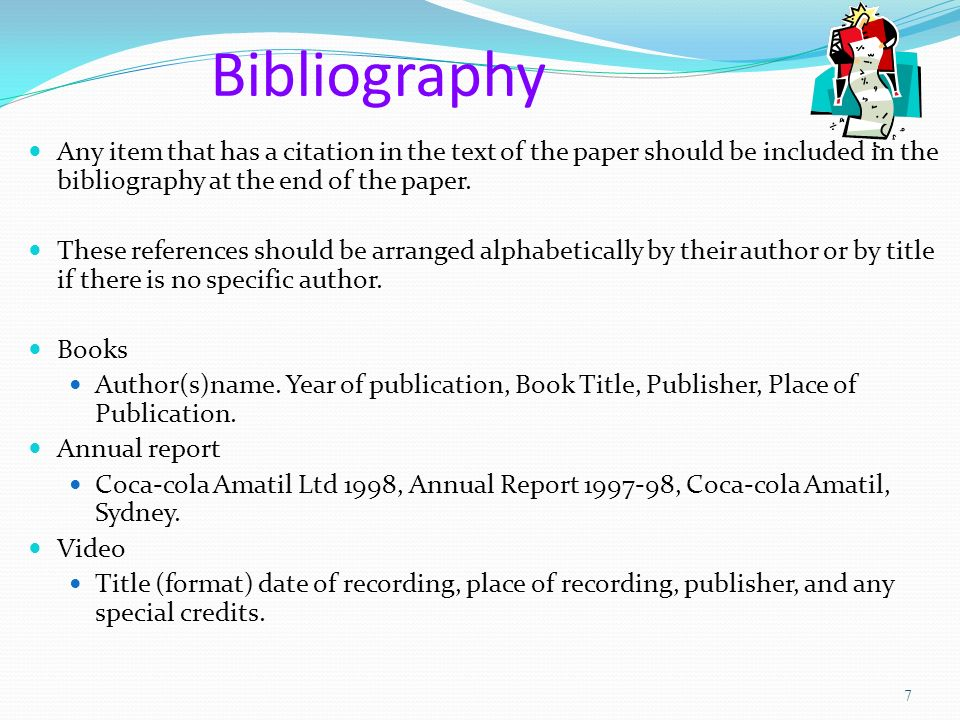 Bibliography on book report