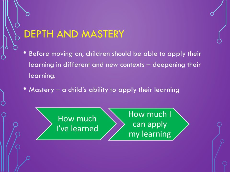 DEPTH AND MASTERY Before moving on, children should be able to apply their learning in different and new contexts – deepening their learning.