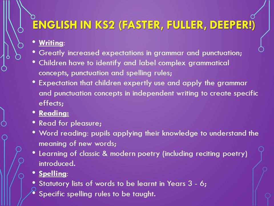ENGLISH IN KS2 (FASTER, FULLER, DEEPER!) Writing: Greatly increased expectations in grammar and punctuation; Children have to identify and label complex grammatical concepts, punctuation and spelling rules; Expectation that children expertly use and apply the grammar and punctuation concepts in independent writing to create specific effects; Reading: Read for pleasure; Word reading: pupils applying their knowledge to understand the meaning of new words; Learning of classic & modern poetry (including reciting poetry) introduced.