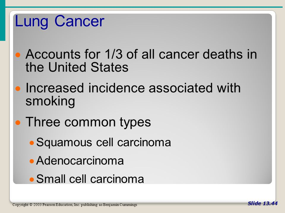 Slide Lung Cancer Copyright © 2003 Pearson Education, Inc.