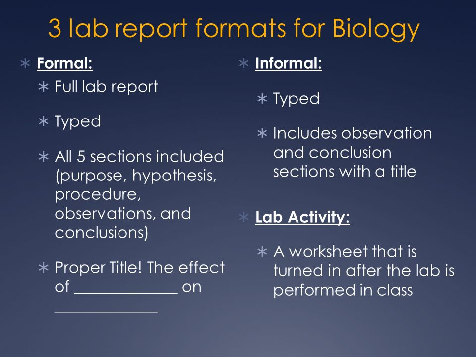lab report for biology