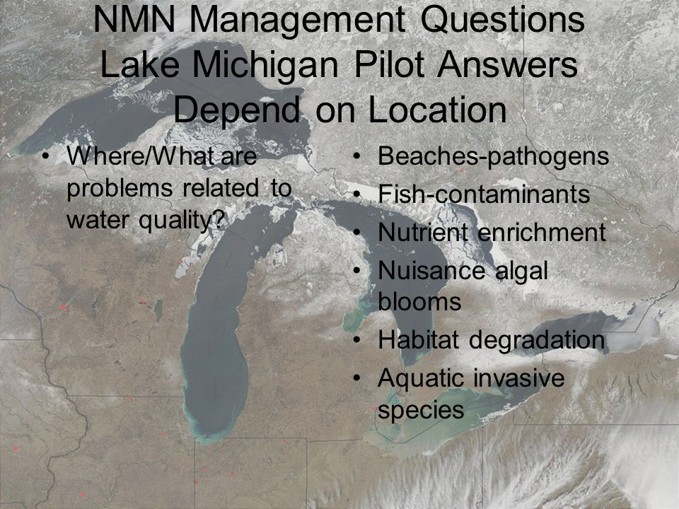 March 19, 20087th Annual Surface Water Monitoring and Standards NMN Management Questions Lake Michigan Pilot Answers Depend on Location Where/What are problems related to water quality.