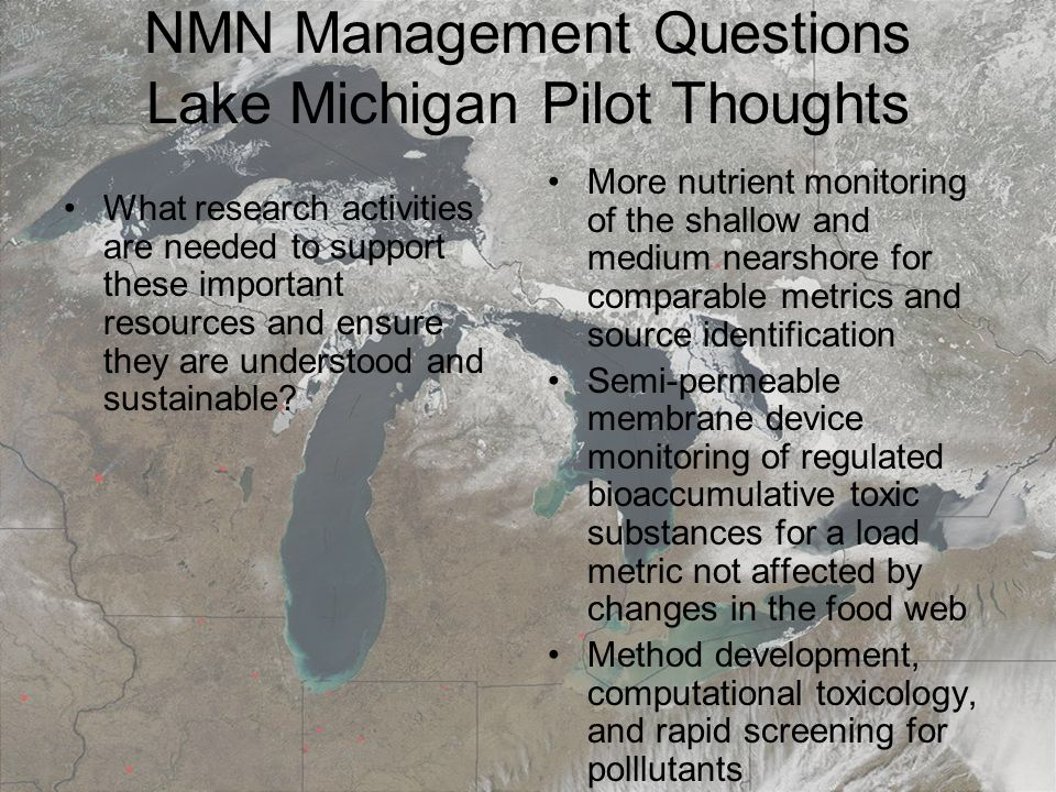 March 19, 20087th Annual Surface Water Monitoring and Standards NMN Management Questions Lake Michigan Pilot Thoughts What research activities are needed to support these important resources and ensure they are understood and sustainable.