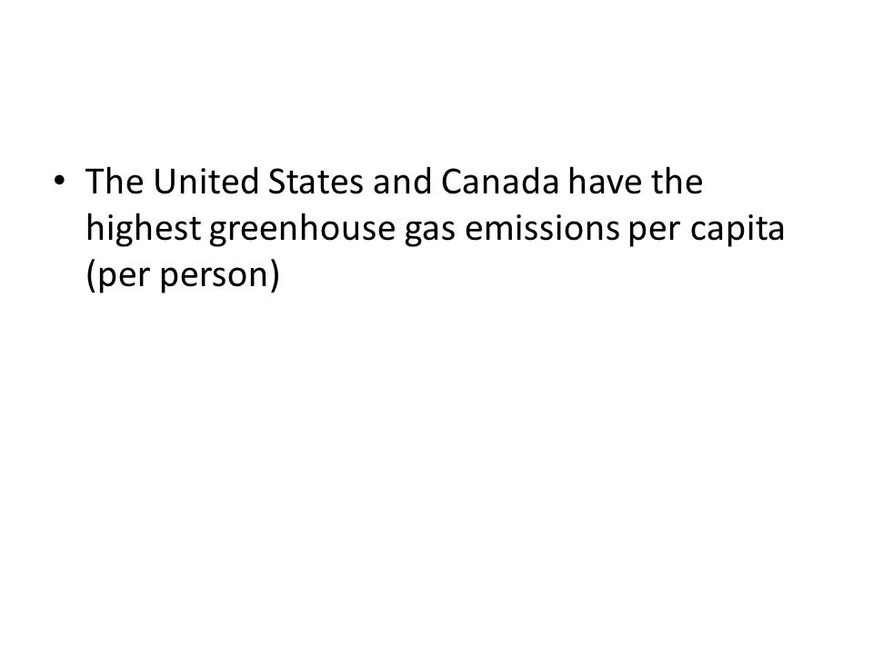 The United States and Canada have the highest greenhouse gas emissions per capita (per person)