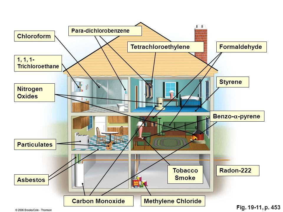 Chloroform Benzo-  -pyrene Styrene Radon-222 Methylene Chloride Tobacco Smoke Carbon Monoxide Asbestos Nitrogen Oxides 1, 1, 1- Trichloroethane Particulates FormaldehydeTetrachloroethylene Para-dichlorobenzene Fig.