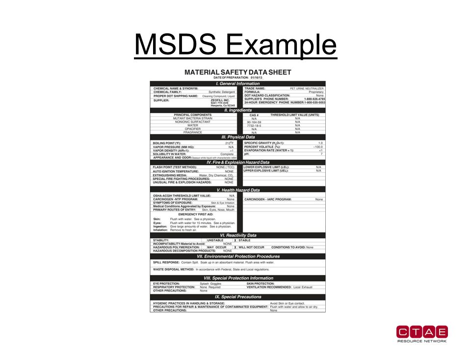 Material Safety Data Sheets Location Of Msds Must Accompany Every