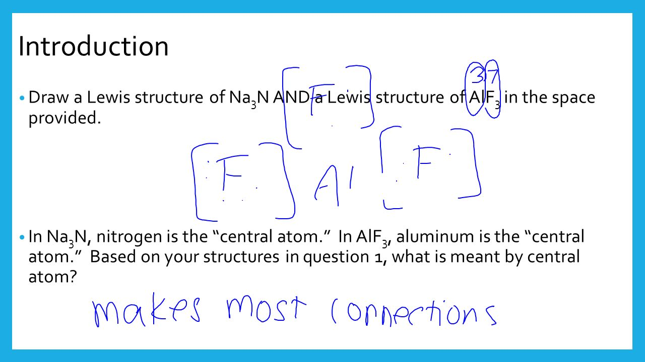Do now how many valence electrons does a sodium atom have hint introduction draw a lewis structure of na 3 n and a lewis structure of alf 3 pooptronica