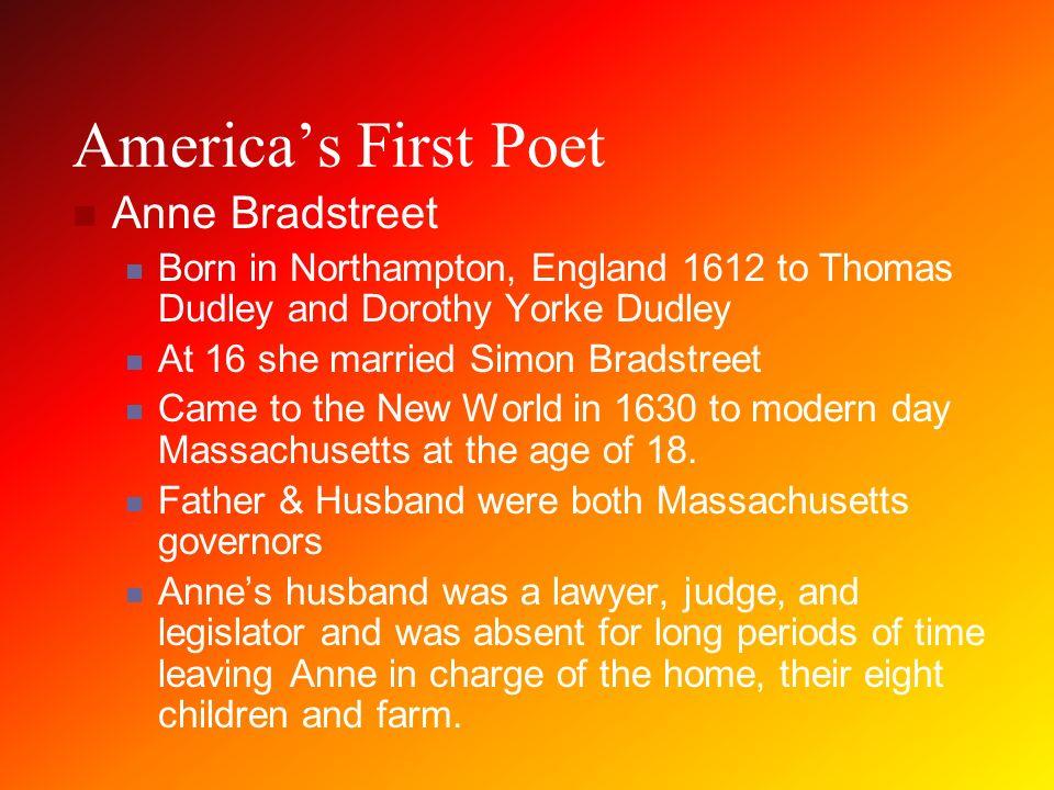 a description of anne bradstreet born in england
