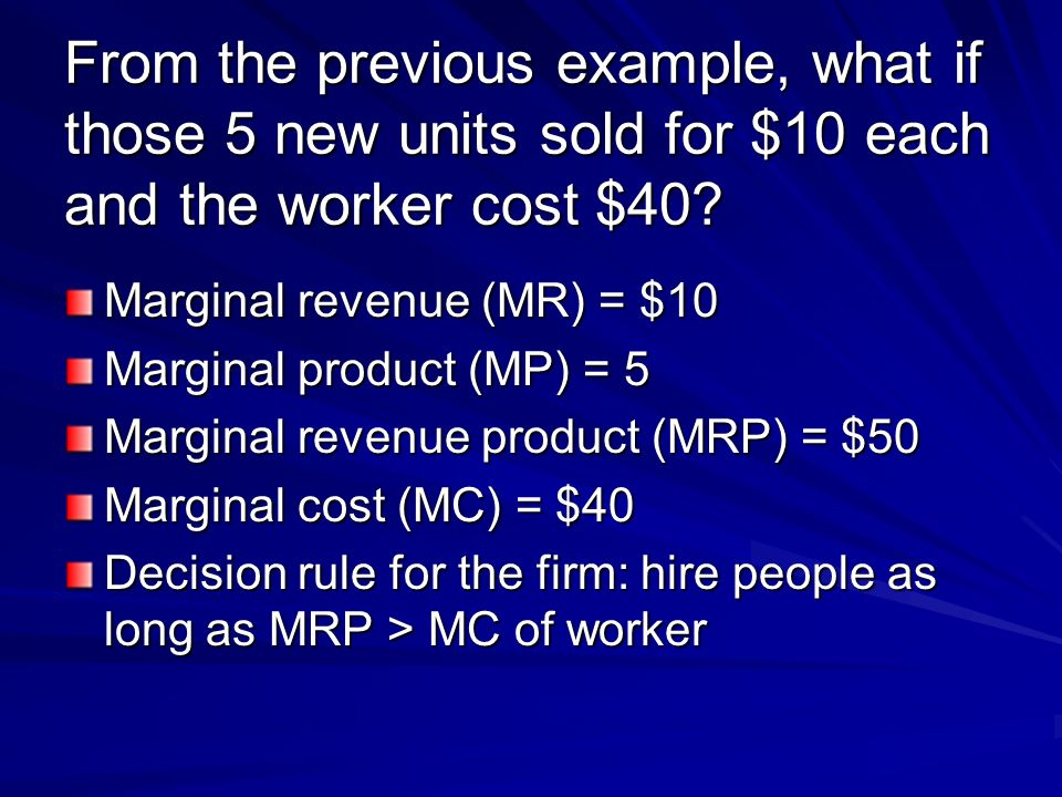 From the previous example, what if those 5 new units sold for $10 each and the worker cost $40.