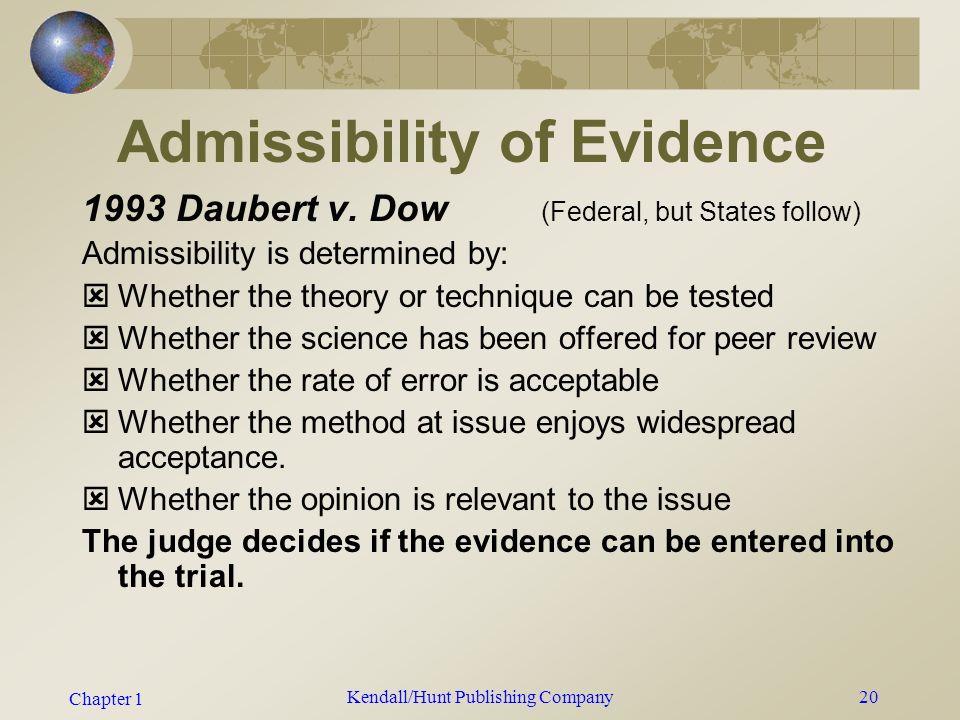 Chapter 1 Kendall/Hunt Publishing Company19 Admissibility of Evidence 1923 Frye v.