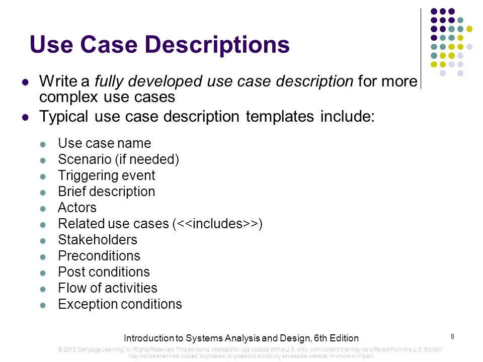 use case descriptions