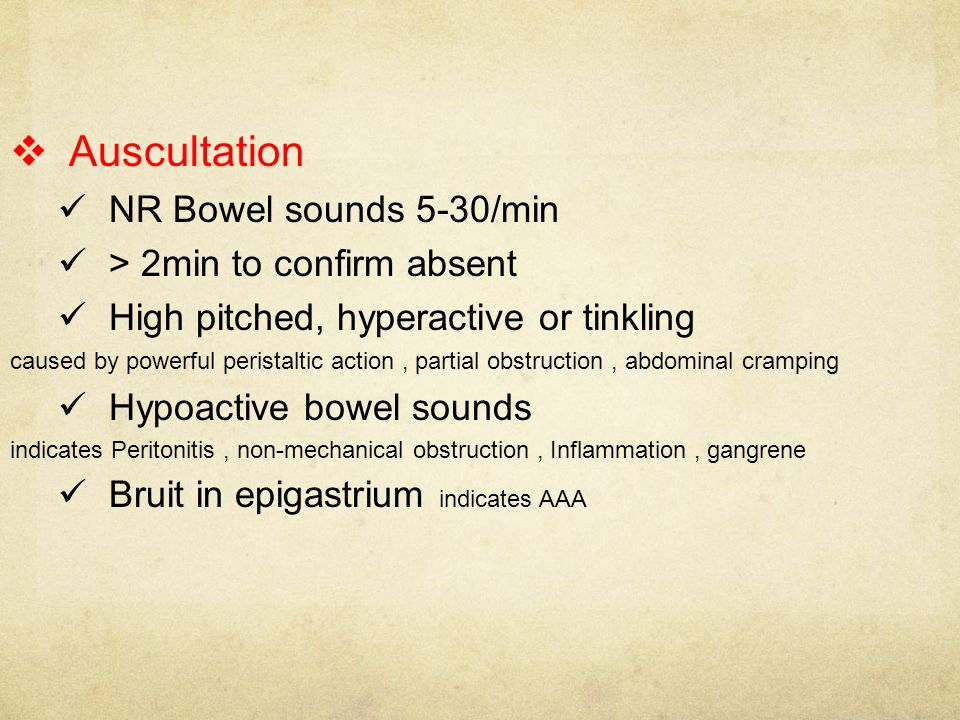 Abdominal auscultation with bowel obstruction