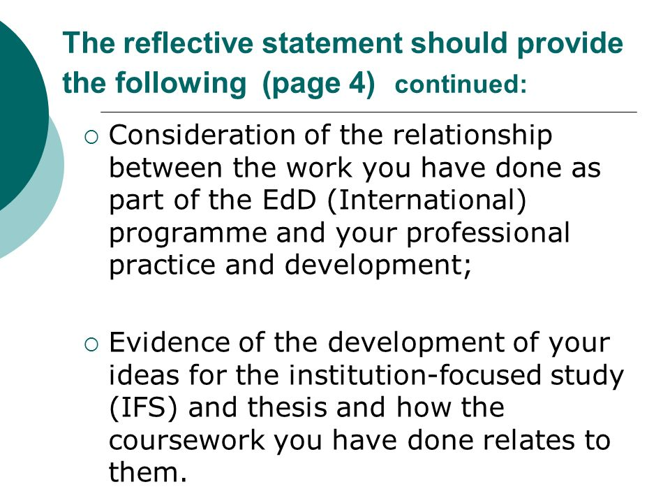 What is a Reflective Statement?