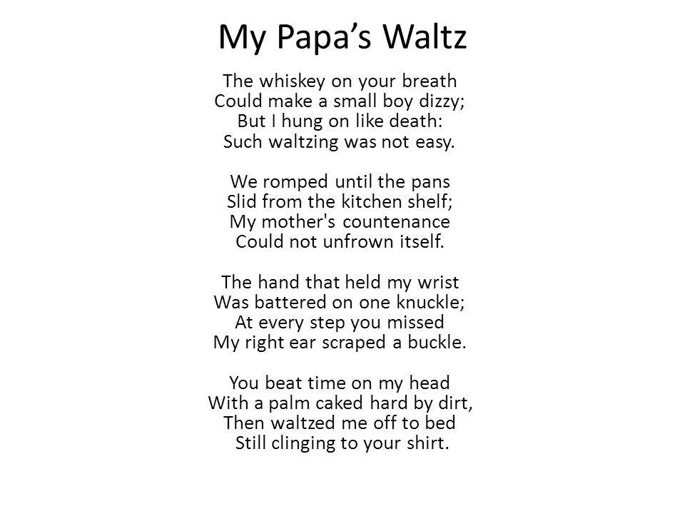 analysis of my papas waltz