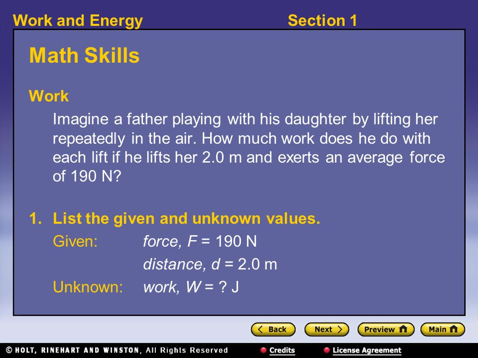 Section 1Work and Energy Chapter 13. Section 1Work and Energy What ...