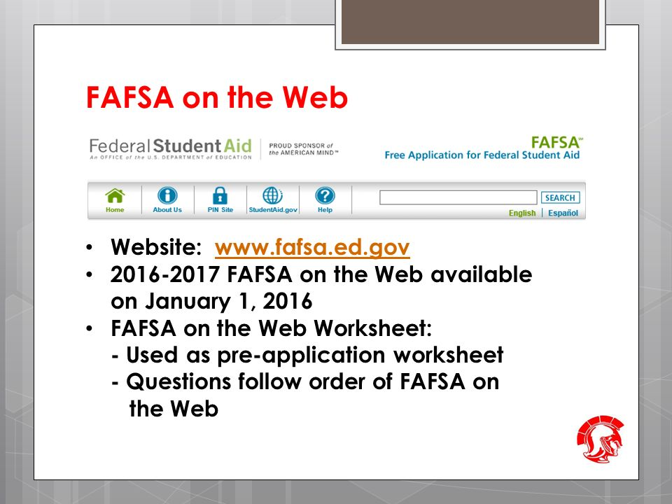 Worksheet Fafsa On The Web Worksheet welcome to richmond high schools financial aid 101 workshop fafsa on the web website www ed govwww fafsa