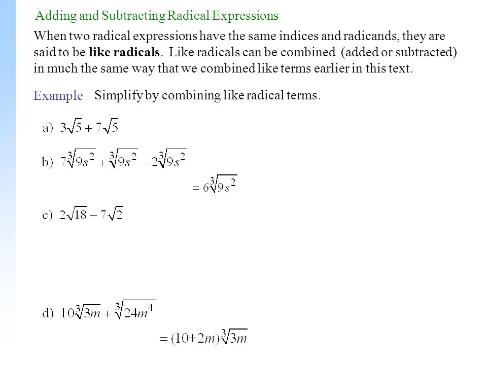 Multiplying Like Radicals