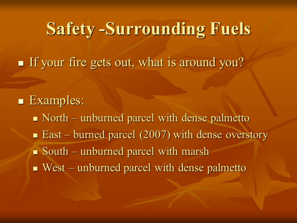Safety -Surrounding Fuels If your fire gets out, what is around you.