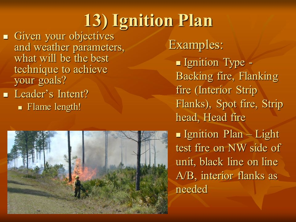 13) Ignition Plan Given your objectives and weather parameters, what will be the best technique to achieve your goals.