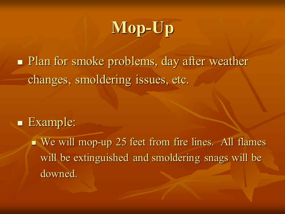 Mop-Up Plan for smoke problems, day after weather changes, smoldering issues, etc.