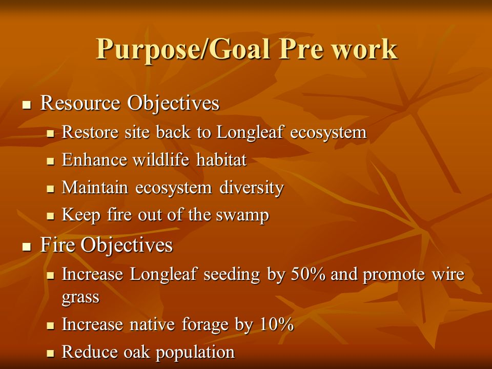Purpose/Goal Pre work Resource Objectives Resource Objectives Restore site back to Longleaf ecosystem Restore site back to Longleaf ecosystem Enhance wildlife habitat Enhance wildlife habitat Maintain ecosystem diversity Maintain ecosystem diversity Keep fire out of the swamp Keep fire out of the swamp Fire Objectives Fire Objectives Increase Longleaf seeding by 50% and promote wire grass Increase Longleaf seeding by 50% and promote wire grass Increase native forage by 10% Increase native forage by 10% Reduce oak population Reduce oak population