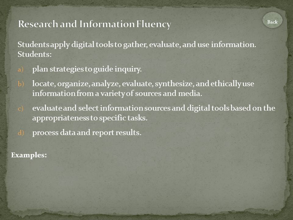 Students apply digital tools to gather, evaluate, and use information.