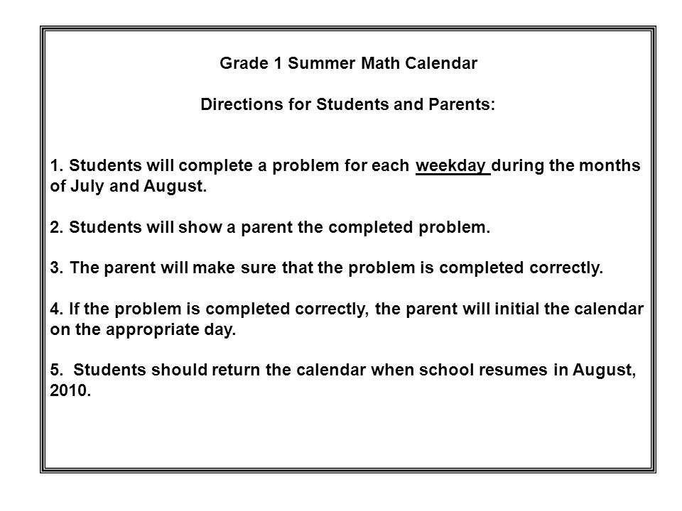Grade 1 Summer Math Calendar Directions for Students and Parents: 1 ...