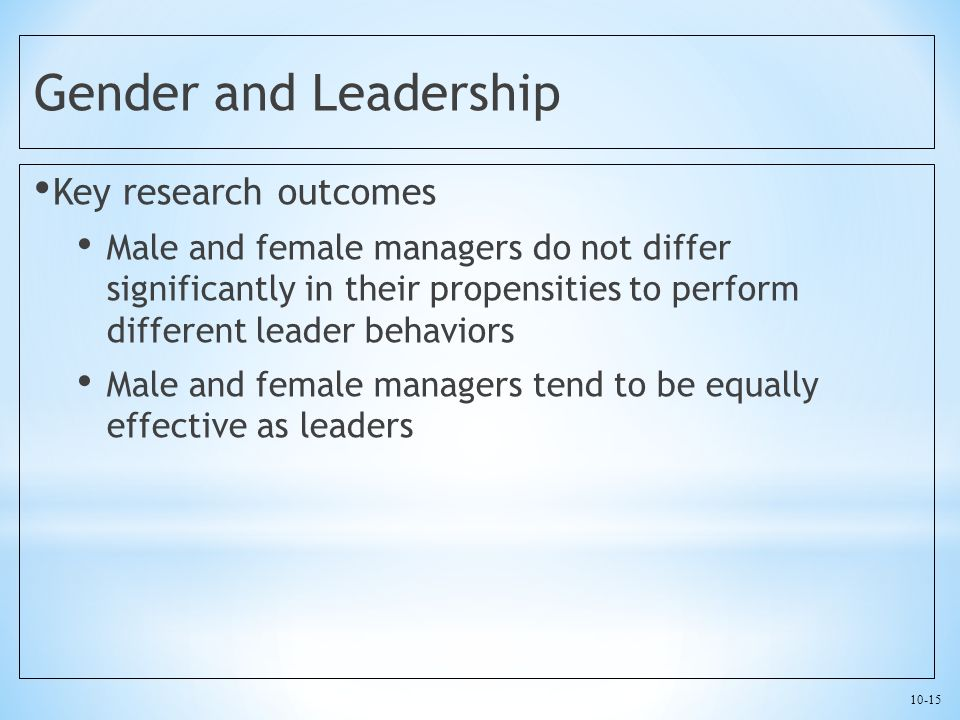 10-15 Gender and Leadership Key research outcomes Male and female managers do not differ significantly in their propensities to perform different lead
