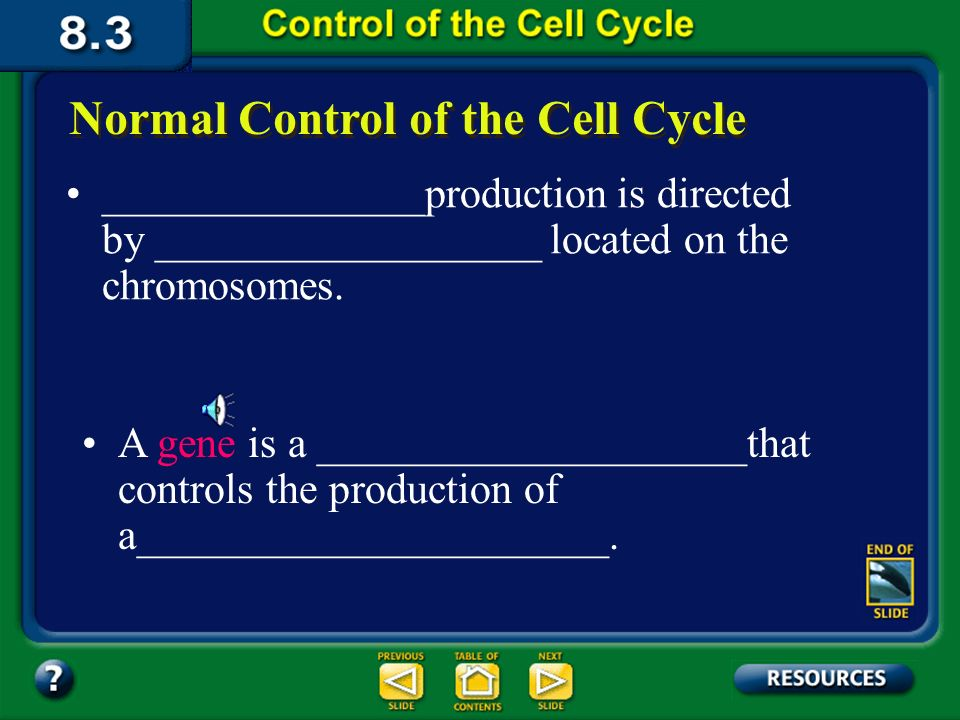 Section 8.3 Summary – pages Normal Control of the Cell Cycle Cancer is a malignant growth resulting from________________________________ This uncontrolled dividing of cells can result from:_______________________________ ____________________________________ ____________________________________ ____________________________________ ____________________________________
